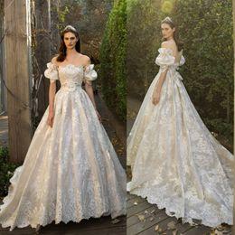 Wholesale garden hod - Lihi Hod 2017 Wedding Dresses Lace Applique Bridal Gowns Off Shoulder Court Train Plus Size Wedding Dress