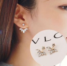 Wholesale Ear Drops Earrings Diamonds - Diamond Earring with Crystal Leaf, Water Drop, Leaf Ear Clips Stud Earring, free shipping and high quality