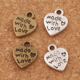 Wholesale animal pendant jewelry - Made With Love Heart Charm Beads Pendants MIC 9.7x12.5mm Antique Silver Bronze Fashion Jewelry DIY L319