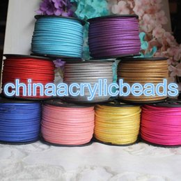 Wholesale Diy Suede Cord - 3mm x 1.5mm 100Yard Roll Flat Faux Suede Korean Velvet Leather Cord With Gold Glitter DIY string Rope Thread Lace Jewelry Making Findings