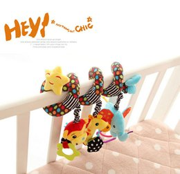 Wholesale activity spiral - Wholesale- candice guo! Sozzy cartoon animal monkey giraffe elephant discovery activity spiral rattle bed hang baby toy gift 1pc