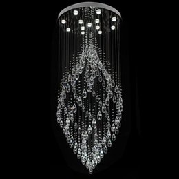 Wholesale Spiral Crystal Chandelier Lighting - crystal chandeliers pendant lamp spiral crystal pendant light K9 crystal chandelier LED lamp suspension lighting hotel lobby lounge