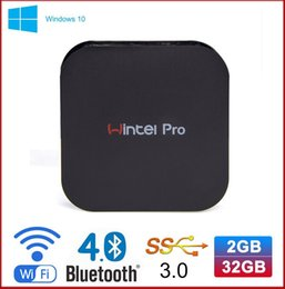 Wholesale Mini Pc Rj45 - Wintel Pro MINI PC intel Z8300 quad 4 cores 64bit 2GB 32GB with WIFI BT4.0 RJ45 100M LAN W8 Pro TV Box WIN10 DHL free shipping