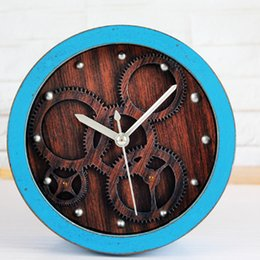 Wholesale Wholesale Vintage Alarm Clocks - Wholesale-European Vintage Style 3D Gear Table Alarm Clock Desk Wood Color Rivet Clock Wood Imitation Clock Silent