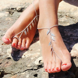 Wholesale Silver Foots Bracelet - Boho Chic Anklets Antique Silver Plated Leaf Charm Chain Anklets Beach Barefoot Sandals Foot Jewelry Slave Bracelet