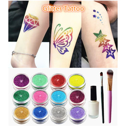 Wholesale Shimmer Body Art Wholesale - Diamond Powder Temporary Tattoo Shimmer Glitter Tattoo Kit Waterproof Body Tattoo Art 12 Colors Paint with Stencil Glue Brushes