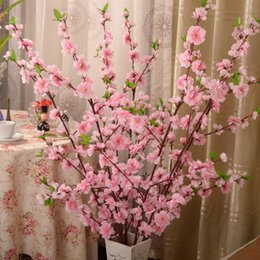 Wholesale Artificial Red Branches - 115CM height Artificial Cherry Spring Plum Peach Blossom Branch Silk Flower Tree For Wedding Party Decoration pink white red color