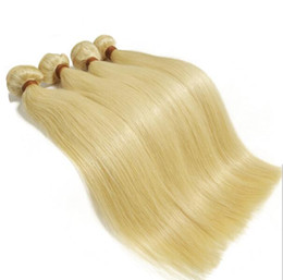 Wholesale Weft Hair For Sale - 2pcs lot 12-30inch european human hair straight light blonde color remy befa hair products for sale Free shipping