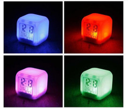 Wholesale Function Desk - Multi-function Mini Desk 7 Colors Change LED Glowing Digital Alarm Clock Thermometer temperature date Desktop Clock Cube