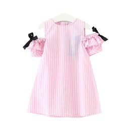Deutschland Sommer-Art-Baby-Mädchen-nette gestreifte Kleidung Kinderkleidung für Kinderkleidchen des kleinen Mädchens bogen supplier little girls cute dress style Versorgung