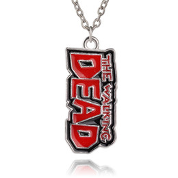 dead pendant Promo Codes - Free Shipping 20pcs lot Movie Jewelry The Walking Dead Necklace Vintage Enamel Pendants Jewelry For Women&Men