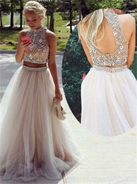 Wholesale Donna Brown - Evening Dresses Long 2017 Abiti Da Cerimonia Donna High Neck Sexy Two Pieces Prom Dresses with Open Back