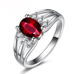 Wholesale Simulated Diamonds White Gold - Luxury White Gold Plated Filled Ring Jewelry Fashion CZ Simulated Diamond Red Gemstone Rings Wedding Ring For Women