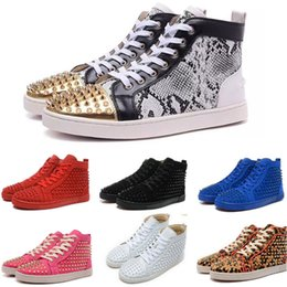 Wholesale Hip Sneakers - Cheap Hip top leather sneakers for men and womens Red bottom shoes with Spikes black suede 2017 fashion Casual shoes