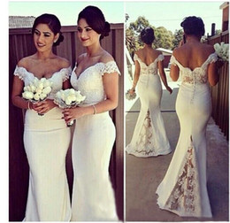 Wholesale Off Shoulder Shirts For Women - Elegant Long Formal Dresses for Women 2016 Lace Off Shoulder Mermaid Sweep Train Corset Bridesmaid Dresses Covered Button Back Sweep Train