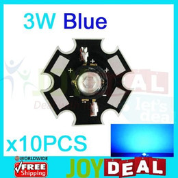 3w blue bead Coupons - Wholesale- 10PCS 3W Blue High Power LED Bead Emitter DC3.5-3.8V 700mA 40LM 455-470NM with 20mm Star Platine Heatsink