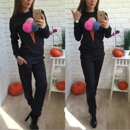 Wholesale Wholesale Winter Women Clothes - 2016 New Fashion Casual 100% Cotton Women Autumn Winter Long Sleeve Pullover + Long Pant 2Pcs Lady Tracksuits Clothing 3Colors S-XL EA8856