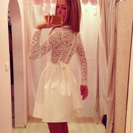 Wholesale lace skater dresses - Fashion Women Long Sleeve Sexy Lace Evening Party Bodycon Mini Skater Dress Long Sleeves Casual Dress Classic Elegant Office Lady 3 Colors