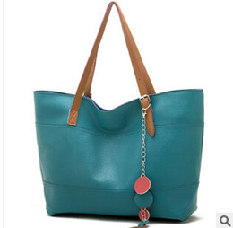 Wholesale Korean Tote Shoulder - Wholesale- Autumn new female bag bag hit the color discs Korean fashion shoulder handbag