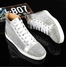 Wholesale High Top Sneakers Free Shipping - wholesale 2017 new men and women rhinestone high top shoes loubuten designer brand red bottoms Sneaker mens loubis shoes free shipping