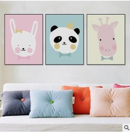 Wholesale Kids Animal Canvas Art - Kawaii Cute Animal Poster Print Modern Nordic Cartoon Nursery Wall Art Picture Kids Baby Room Decor Canvas Painting No Frame 512
