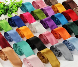 Wholesale Mixed Skinny Ties - Fashion Mens Skinny Plain Satin Tie Solid Color Wedding party Neck ties Formal Business Men silk Neckties 40 colors mix order 20pcs Free Shi