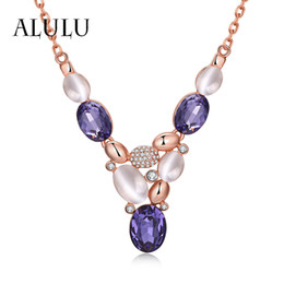 Wholesale Opal Pendant Rose Gold Chain - Wholesale-Fashion Crystal Opal Female Pendant Necklace Chain Plated Rose Gold 18K Gold Rhinestone Long Choker Necklace Jewelry For Women