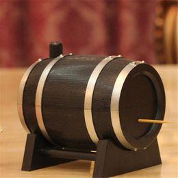 Wholesale Wood Wine Boxes Wholesale - Wholesale-2016 Oak Wine Barrel Type Automatic Toothpick Holder Press Bucket Dispenser Tooth Pick Cotton Swab Case box Black