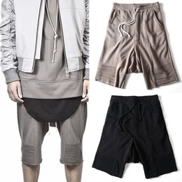 Wholesale Cotton Dress Elastic Waist - Wholesale-Summer Dress Dark Fashion Hip Hop Loose Hight Street Harem Cotton Sweat Shorts Kanye West Justin Bieber Short Fear Of God