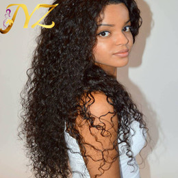 Wholesale Indian Curly Lace Front Wigs - Top Quality Lace Front Wigs Brazilian Malaysian Peruvian 130% Density Swiss Lace Curly Full Lace Wigs Deep Curly Hair