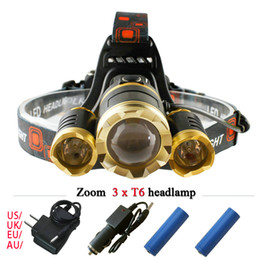 Wholesale Rechargeable Emergency Led Lights - 3 CREE XM L T6 led headlamp headlight 9000 lumens led head lamp camp hike emergency light fishing outdoor equipment