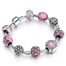 Wholesale Crystal Ball Bracelet Wholesale - European Style Authentic Tibetan Silver Crystal Charm Bangle & Bracelet with Flower Crystal Ball for Women Wedding AA91