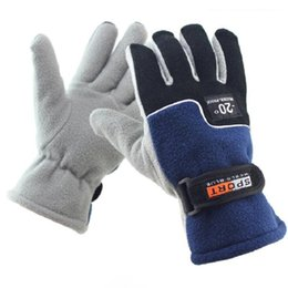 Wholesale Cycle Thermals - Wholesale Men Winter Warm Fleece Thermal Motorcycle Ski Snow Snowboard Gloves Polar Fleece Cycling Gloves Free Shipping