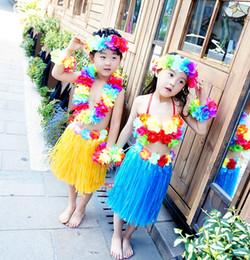 Wholesale Hawaii Beach Skirt - 40cm Festive & Party Supplies kids' Pink Hawaiian Hula Grass Skirt sets Party Dress  Hawaii Beach Dance 1set lot free shipping