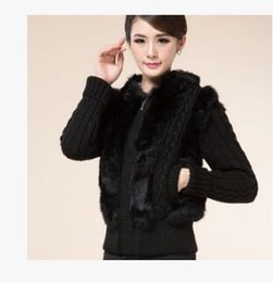 Wholesale Knit Rabbit Fur Cardigan - Wholesale- Women'S Casual Rabbit Fur Short Coat Knit Wool Cardigan Sweater Winter And Autumn Patchwork Hooded Faux Fur Knit Sweater J432