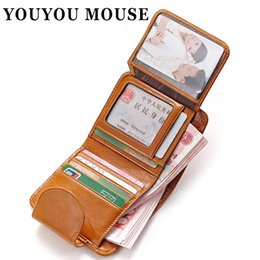 Wholesale Paper Thread - YOUYOU MOUSE Oil Wax Paper Genuine Leather Womens Wallet Fashion Purse Women's Cowhide Clutch Credit Thread Card Holder Vintage