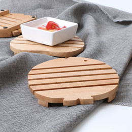 Wholesale Wood Placemats - Wholesale- 2pcs lot Japanese Style Wooden Coasters Cup Mat Placemats For Table Decorations Heat Insulated Pad Great Gifts