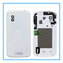 Wholesale lg nexus cover case - Original New Replacement Parts Battery Door For LG Google Nexus 4 E960 Rear Back Housing Cover Case with NFC Chip + Logo Free Shipping