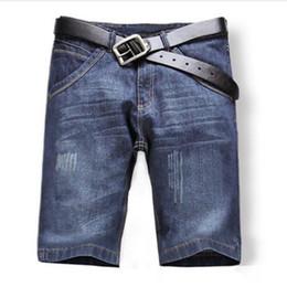 Wholesale Plus Size Shorts Capris - Wholesale-2016 Shorts Men Fashion Casual Mens Jean Shorts Cotton Straight Ripped Designer Shorts Bermuda Homme Mens Capris Plus Size 25-40