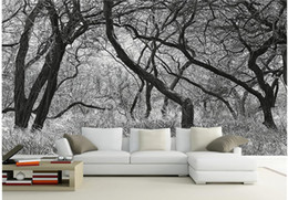 Wholesale Wholesale Murals - Black and white trees with frescoes mural 3d wallpaper 3d wall papers for tv backdrop