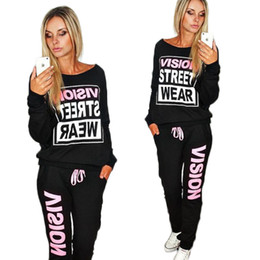 Wholesale New Fashion Suits For Women - 2016 Spring Autumn New PiNK Vision Street Wear Print Women's Tracksuits O-Neck Suit Set Suits For Wome
