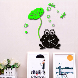 Wholesale Cute Unique Gifts - Kids Bedroom Decor Wall Clocks Cute Green Frog Unique Decorative Wall Clock Modern Contemporary Houses Wall Stitckers Gift Cartoon