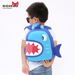 Wholesale Backpacks For Toddler Girls - NOHOO Waterproof School Bags Blue 3D Shark Kids Backpack Cartoon Animal Children School Bags For Girls Boys Toddler Baby Bag