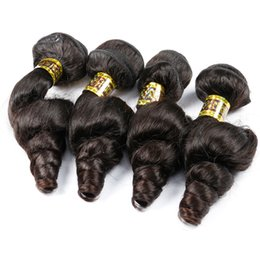 Wholesale Processed Peruvian Hair - 4 Bundles Loose Wave Virgin Hair Weave Bundles Processed Human Hair Extension Brazilian Malaysian Peruvian Hair Natural Color 2 4 Dark Brown