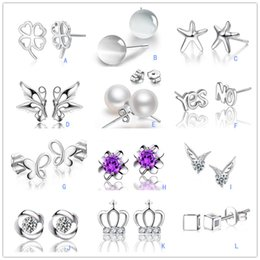 Wholesale Earings Mix - S 925 Stamped Sterling Silver Plated Mixed Crystal Opal Pearl stud earrings Crown wing Letters earings Fashion brand jewellery for women
