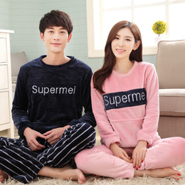 Wholesale Fleece Pajamas Men - Wholesale- Brand Winter Women's Sleepwear Couples Pyjama Femme Pajamas Coral Fleece Letters Pajama Mujer Men Pajamas Sets Home Clothing