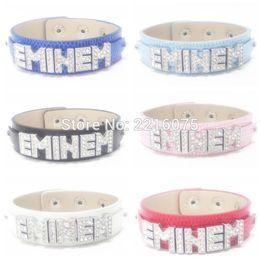 Wholesale Wholesale Bracelets Metal Slide Letters - Wholesale- Eminem Wristband Bracelets Rhinestone Metal Slide Letter Charm DIY bangles free shipping