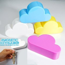 Wholesale Novelty Fridge Magnets - New Cloud Shape Magnetic Keys Fridge Magnets Creative Novelty White Cloud Shape Magnetic Magnets Key Holder fridge sticker Cute