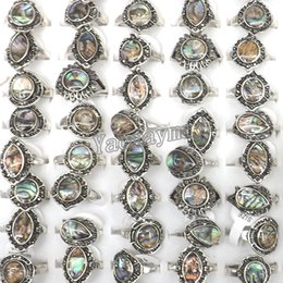 Wholesale Shell Mother Pearl Rings - 50pcs Lot Women's Natural Abalone Shell Rings Mixed Size Factory Direct Price Free Shipping