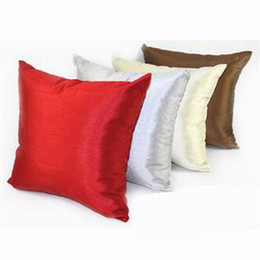 """Wholesale Silk Cushion Cover Red - Wholesale- 6 Colors 18x18"""" Red Silver Faux Silk Luxury Square Pillow Case Cushion Square Pillow Covers"""